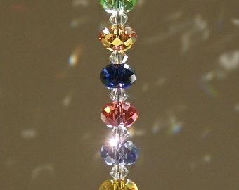 "Swarovski Crystal Suncatcher, 30mm Crystal Ball, Prism, with Stunning Colorful Swarovski Rondelle Strand, Window Decor, Ornament - ""LOLA"""