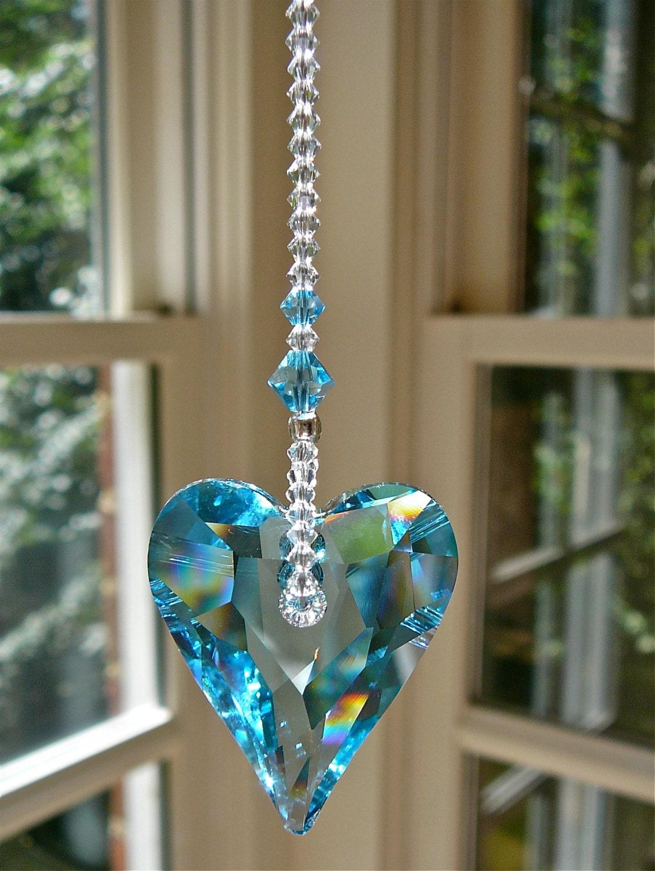 Blue Crystal Heart Suncatcher Window Hanger Ornament For