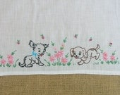 Vintage Hand Towel Dishtowel Dog Drying Embroidered