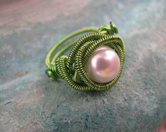 Lime Green Pearl Ring Size 8, Wire Wrapped Ring, Coil Ring, Coil Wrapped Green Wire, White Pearl Ring, Copper