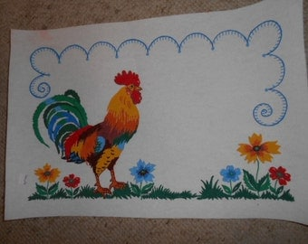 Vintage Felt Painted Picture of Rooster and flowers ready to frame
