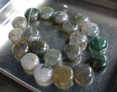 Moss Agate, 10mm Smooth Coin Beads, Half Strand