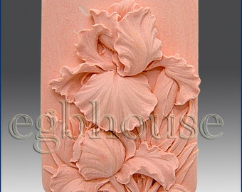 2D Silicone Soap/Polymer Clay/Cold Porcelain Clay/Plaster Mold- Ruffled Iris - free shipping - from original designer n maker