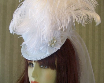 White Wedding Mini Top Hat Steampunk Mini Top Hat Victorian Hat Cosplay Hat Halloween Hat