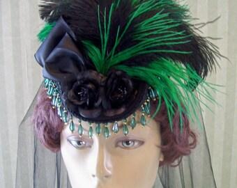 Black Steampunk Mini Riding Hat Victorian Hat Civil War Hat Mini Top Hat Lolita Hat Kentucky Derby Hat