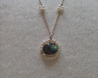 Iridescent labradorite and pearl drop necklace - jewelry by jackie