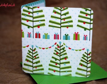 Blank Mini Holiday Card Set of 10, Mini Festive Trees with Contrasting Polka Dots on the Inside, Bright Green Envelopes, mad4plaid