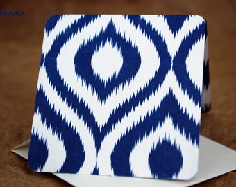 Blank Mini Card Set of 10, Fun Ikat Design with Contrasting Chevron on the Inside, Warm White Envelopes, mad4plaid