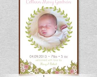 Floral Wreath Birth Announcement - DIY Printable File