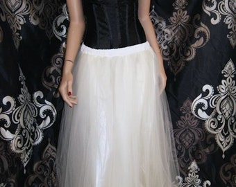 Formal Cream Colored Floor Length Tulle Skirt Adult All Sizes MTcoffinz