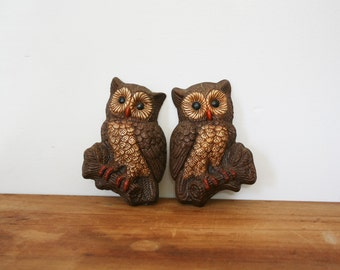 vintage 70s Pair of Cute Hoot Owls On Branches Woodland Wall Hanging