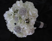 Package Anemone Black and White  Realtouch Rose Brooch Bridal Bouquet Wedding  Bridesmaids Boutonniere Set