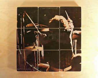 GRAND FUNK RAILROAD recycled Live album cover coasters with vinyl bowl