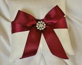 Ivory and Burgundy Ring Bearer Pillow - Silk Wedding Ring Bearer Pillow