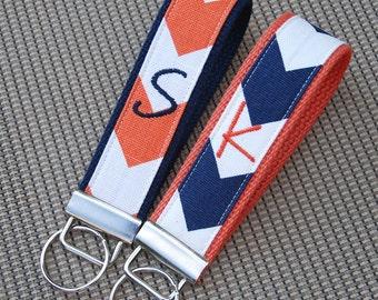 School Colors-Key Fob-Navy/Orange
