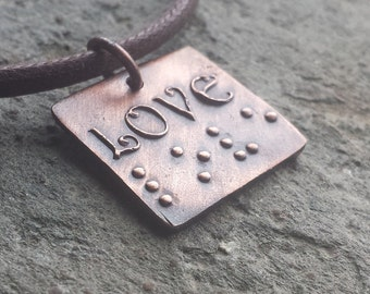 Love in Braille Square Jewelry in Braille