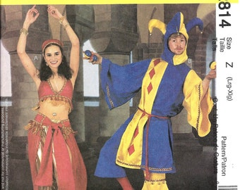 McCall's 2814 Jester and Bellydancer Costumes, Misses - Men - Teen Boys, Large - XL Pattern
