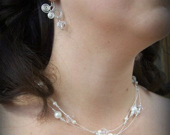 Brides Necklace/ Swarovski crystals and pearls/ Sterling Silver Bridal Necklace