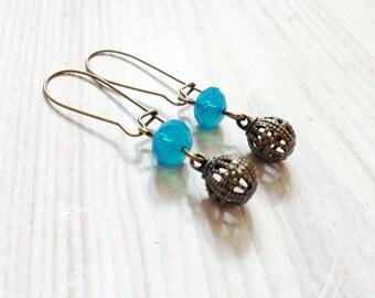 Chloé Earrings in Aqua Blue and Brass