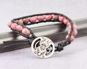 Pink Wrap Bracelet Rhodonite Gemstone Bracelet Dusty Rose Black Fall Fashion Bohemian Style Single Wrap