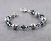 Gray Pearl Sapphire Blue Bridal Bracelet Sterling Silver Lobster Clasp Beaded Bracelet