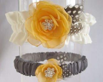 Wedding garter, Ivory, Pale Tangerine and Pewter Gray Garter Set A164 - wedding garter accessory