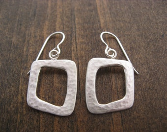 hammered open square earrings, made in Portland, Oregon