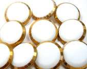 White Glass BUTTONS, 10 vintage glass with gold trim. - OldeTymeNotions