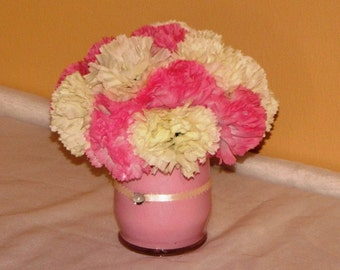 Wedding Centerpiece Pink with Ivory and pink carnations wedding flowerball flower decorations silk flower centerpieces flower arrangement