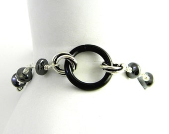 Hematite & Sterling Silver Chain Slave Bracelet with Black Anodized Titanium Captive Segment Ring Clasp