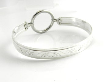 Sterling Silver Locking Slave Cuff with Surgical Stainless Steel Captive Segment Ring Clasp