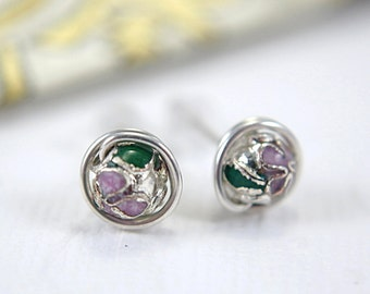 Silver cloisonne post earrings 925 sterling silver medium size stud earrings wire wrapped flower motif earrings enamelled 7mm mauve green