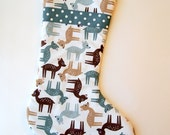 Baby Deer in Gray and Brown on White Modern Christmas Stocking With Gray Ribbon