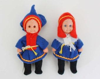 Set of 2 International Children Doll Ornaments - Boy and Girl in Folk Dress