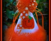 Halloween Birthday Hat,  Pumpkin Birthday Hat, Fall Birthday Hat, Thanksgiving Birthday Hat,  by GINGHAM BUNNY