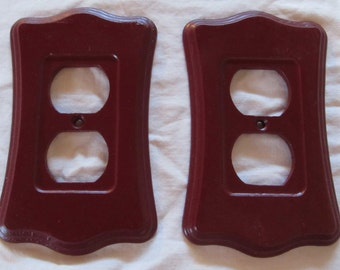 MERLOT painted wooden electrical outlet coverS -- 1 pair (2 pieces)