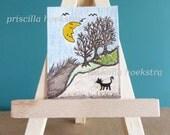 """Moon Valley Miniature peinture couleur crayon et aquarelle Art Original 1-1/2 """"de large X 2"""" de haut"""