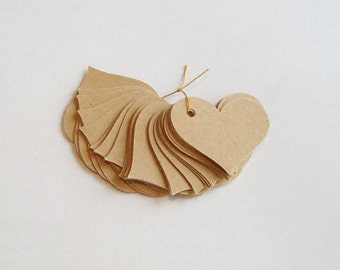 50 Heart tags, kraft heart gift tags, heart hang tags, wishing tree tags, product tags, price tag, scrapbook tag, heart tag, heart die cut