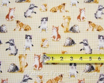 Cute Kittens Kitty Cat Meow Purr on Light Brown Checks BY YARDS Cotton Fabric
