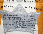 Vintage Mid Century Chicken Ala' King Recipe Towel MWT Leacock