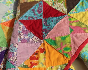 Vintage Hand Made Triangle Patchwork Small Quilt Antique One of a Kind Cotton