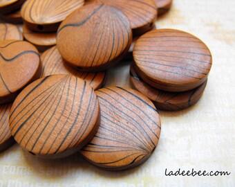 10 Faux Wood Grain Wooden Beads 25mm