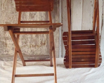Vintage Modern Pair Solid Wood Slatted Folding Chairs