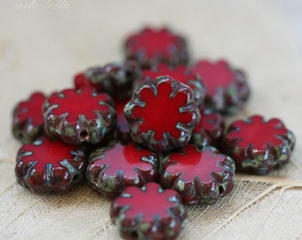 RED BLOOMS .. 10 Picasso Czech Flower Glass Beads 9x3mm (3590-10)