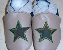 tan leather navy heel camo star two tone boy shoes chaussons handmade you pick size
