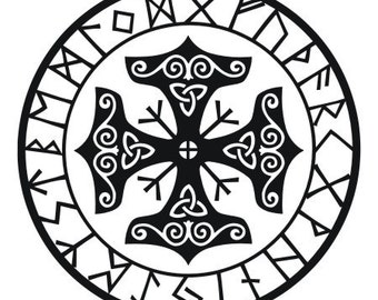 Viking protection runes talisman black vinyl decal