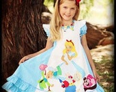 Girls two piece Alice in Wonderland Disney Dress set  Sizes 4 5 6 7 8