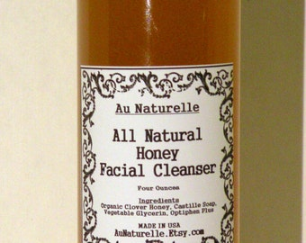All Natural Honey Facial Cleanser  -  Gentle -  Sensitive Skin Types - Choice Of Two Ounce, Four And Eight Ounce