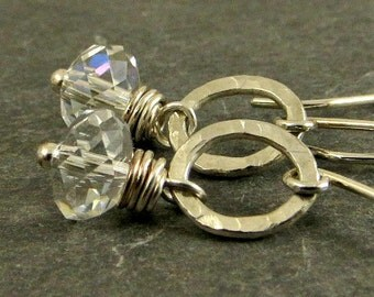 Crystal Earrings Fused Fine Silver Earrings Gifts for Her Under 25