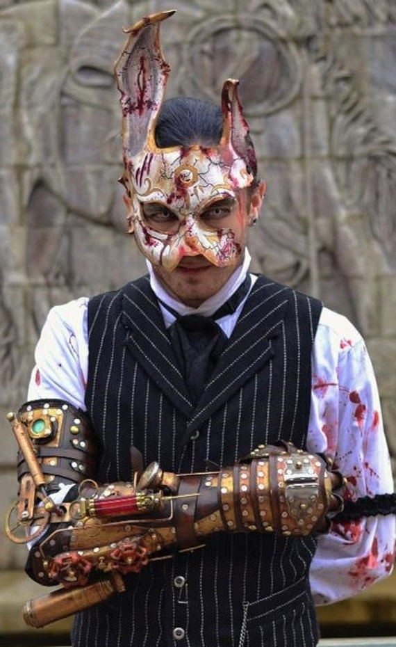 Leather rabbit mask. BioShock Splicer bunny Mask. Handmade costume by SkinzNhydez steampunk armory